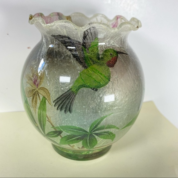 Glass Hummingbird Floral Tea Light Candle Holder